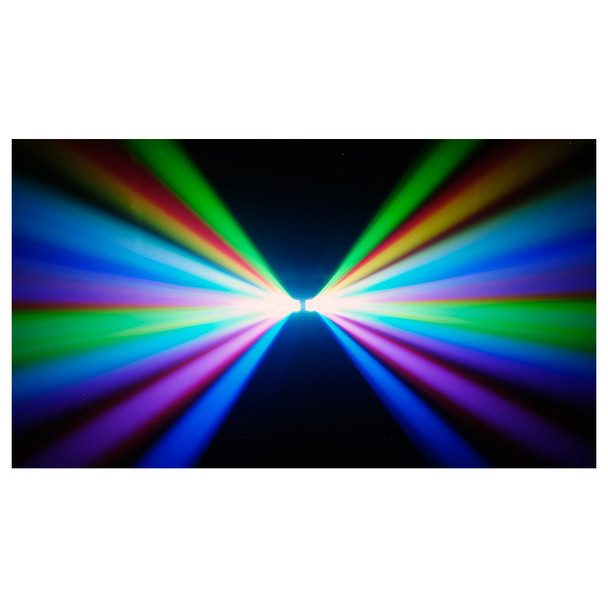 CHAUVET Derby X DMX-512 LED derby effect light shining towards camera in blue green red yellow purple
