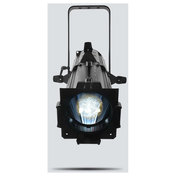 CHAUVET EVE E-100Z powerful spot fixture featuring sharp pattern projection with a 100 W warm white LED light source front view with warm white light shining downwards