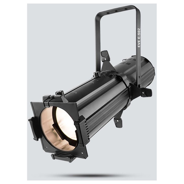 CHAUVET EVE E-50Z LED Ellipsoidal that shines a hard-edged, warm white spot - front/right view shown with white light pointing downwards