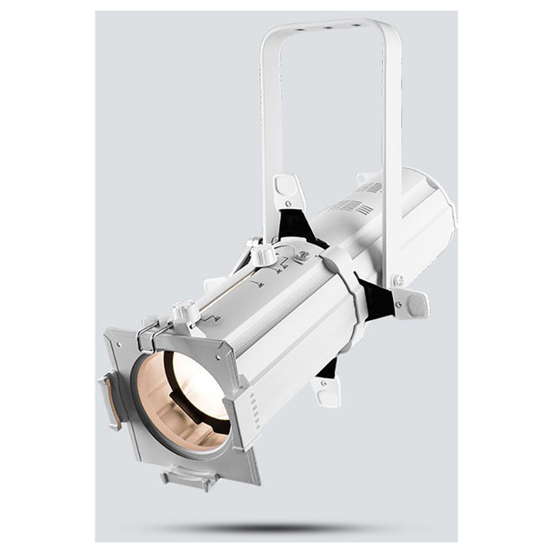 CHAUVET EVE E-50Z LED Ellipsoidal that shines a hard-edged, warm white spot (White Housing) - front/right view shown with white light pointing downwards
