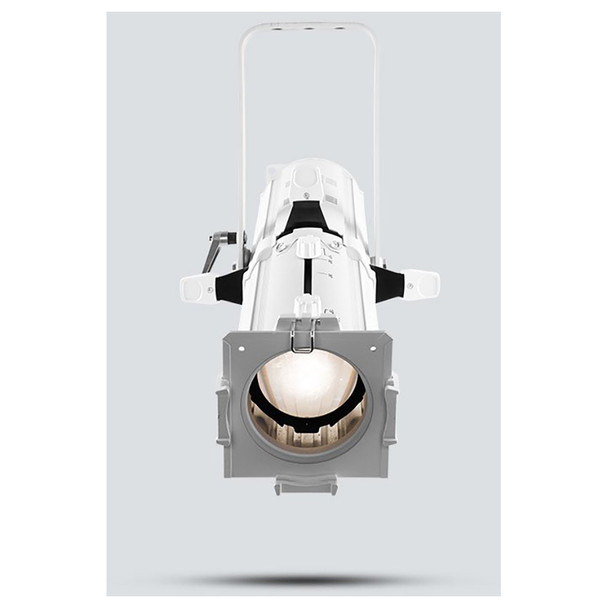 CHAUVET EVE E-50Z LED Ellipsoidal that shines a hard-edged, warm white spot (White Housing) front view shown with white light pointing downwards