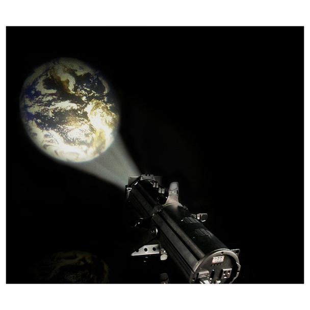EVE E-50Z LED Ellipsoidal shining onto dark wall illuminating the earth