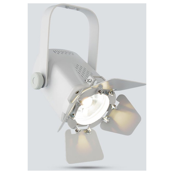 CHAUVET EVE Track Fresnel compact, energy efficient, soft edge LED accent luminaire (White Housing) front/left view with white light illuminated