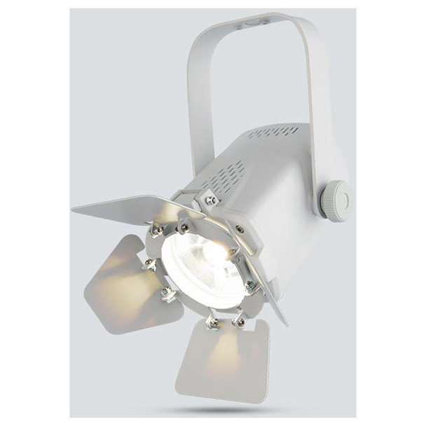 CHAUVET EVE Track Fresnel compact, energy efficient, soft edge LED accent luminaire (White Housing) front/right view with white light illuminated