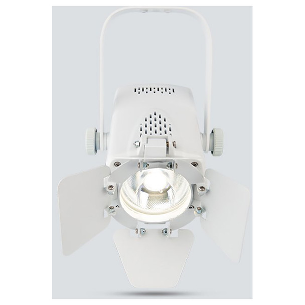CHAUVET EVE Track Fresnel compact, energy efficient, soft edge LED accent luminaire (White Housing) direct front view with white light illuminated