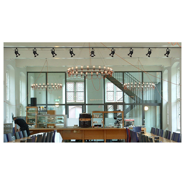 lobby of office center with EVE Track Fresnel along the ceiling to illuminate the room