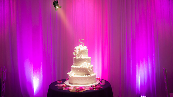 wedding cake with purple lights in background illuminated by EVE Track Fresnel