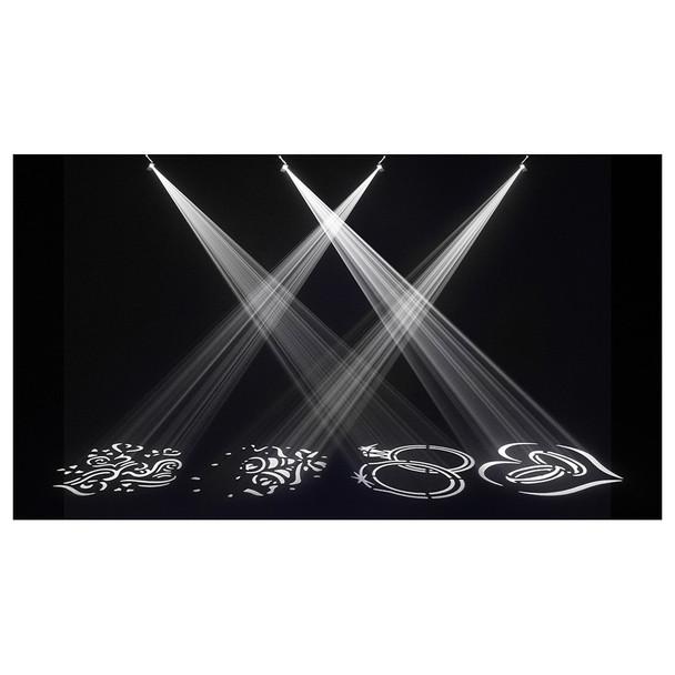 4 separate shapes shining onto floor illuminated by EZgobo