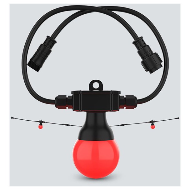 CHAUVET Festoon 2 RGB EXT 1 individual cord with red bulb on bottom with an extended string behind