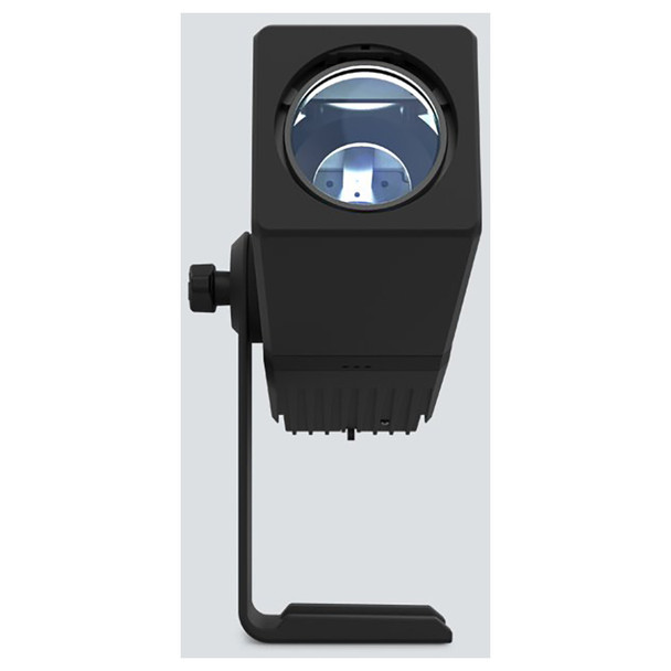 CHAUVET Freedom Gobo IP 100% TRUE wireless, battery-operated, cool white LED Gobo Projector with built-in D-Fi transceiver direct front view with white light shining upwards knob/base on left