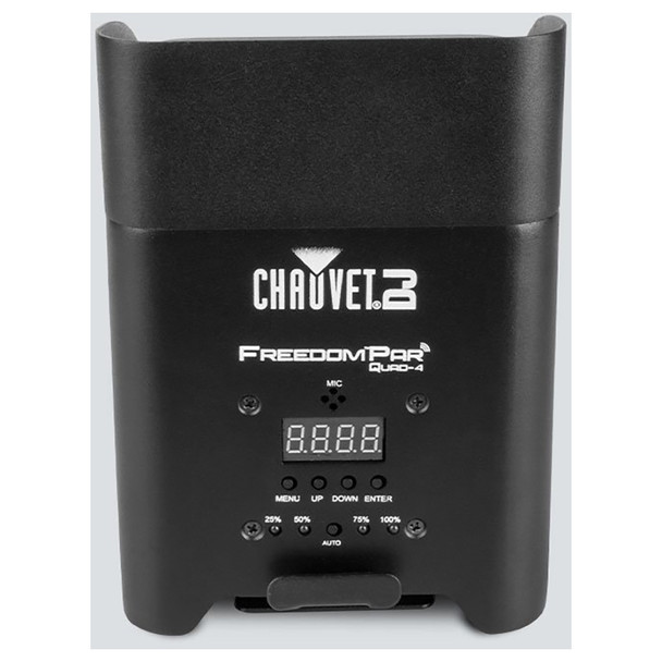 CHAUVET Freedom Par Quad-4 battery-operated, quad-color (RGBA) LED Par with built-in D-Fi™ transceiver back view showing screen, buttons, battery lights