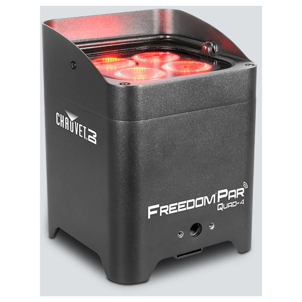 CHAUVET Freedom Par Quad-4 battery-operated, quad-color (RGBA) LED Par with built-in D-Fi™ transceiver front/left/top view with 4 red lights shining upward