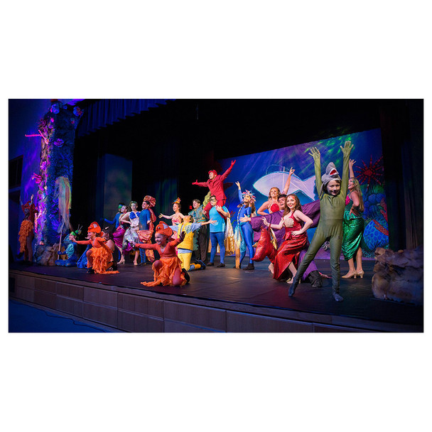 Musical stage with actors illuminated by Freedom Par Quad-4 lights