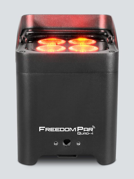 CHAUVET Freedom Par Quad-4 battery-operated, quad-color (RGBA) LED Par with built-in D-Fi™ transceiver direct front view with 4 red lights shining upward