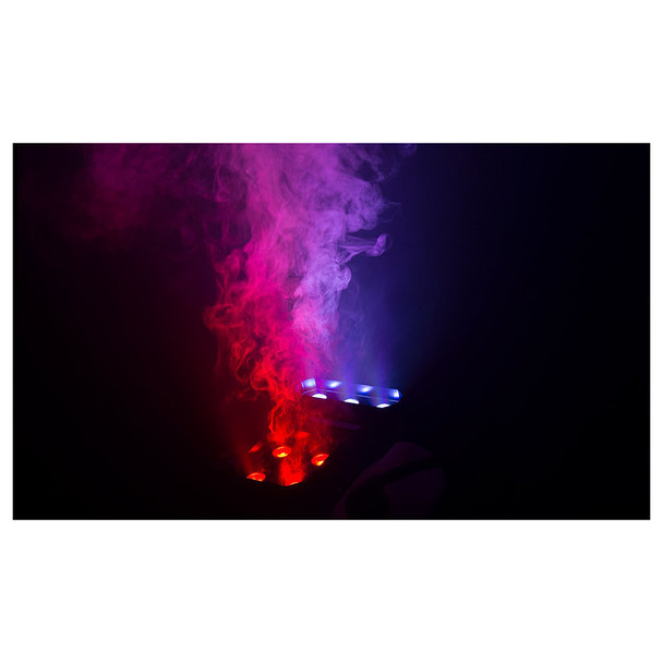 CHAUVET Geyser P7 lights shining upwards in red and blue lights along with fog emitted from the machine