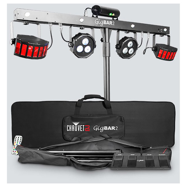 CHAUVET Gig Bar 2 4-in-1 light with a pair of LED derbies, LED pars, a laser, and strobe effect all mounted on one bar front view of bar and all 4 lights and bag/remote below