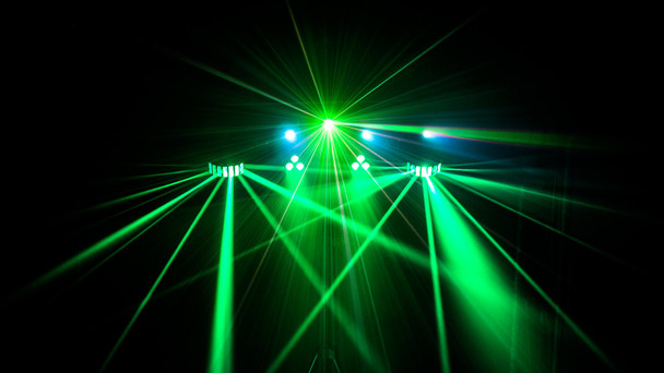 black background with CHAUVET Gig Bar 2 4-in-1 light with a pair of LED derbies, LED pars, a laser, and strobe effect shining in green and blue