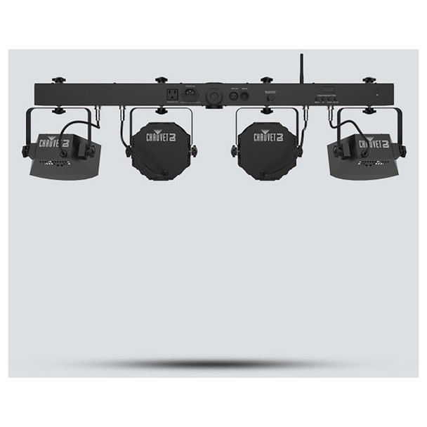 CHAUVET Gig Bar Flex 3-in-1 Pack-n-Go lighting system with a pair of LED Derbys, LED Quad-color pars (RGB + UV) and strobes back view of all 4 lights on bar and inputs/outputs on bar