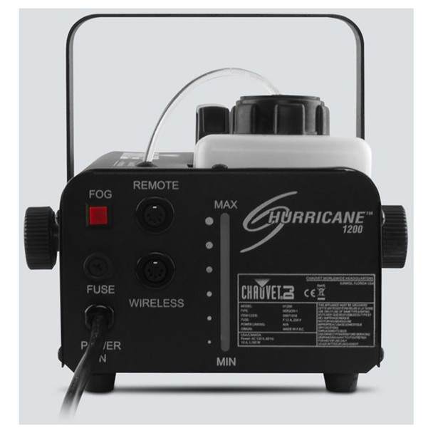 CHAUVET Hurricane 1200 Compact and lightweight fog machine direct back view with fog light and buttons shown