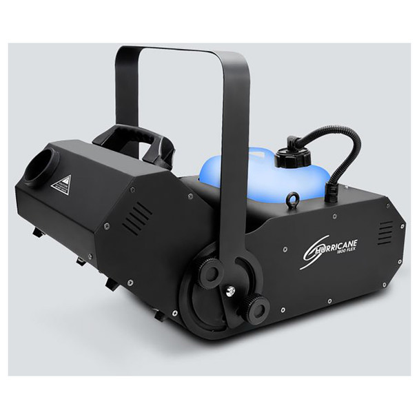 CHAUVET Hurricane 1800 Flex water-based fog machine offers a manually adjustable output angle of 180° front/right view with fog output facing upward