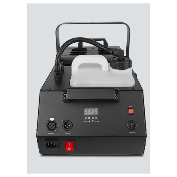 CHAUVET Hurricane 1800 Flex water-based fog machine offers a manually adjustable output angle of 180° showing inputs, outputs, power switch, buttons, screen shown