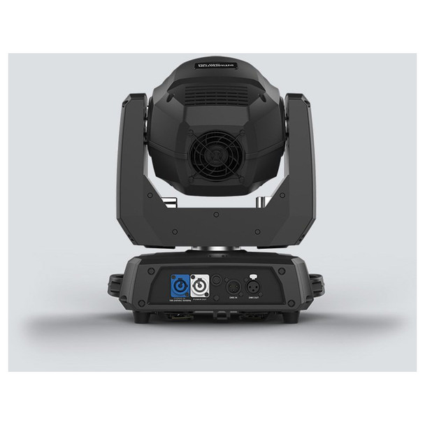 CHAUVET Intimidator Spot 360 moving head fitted with 100 W LED back view with inputs and outputs