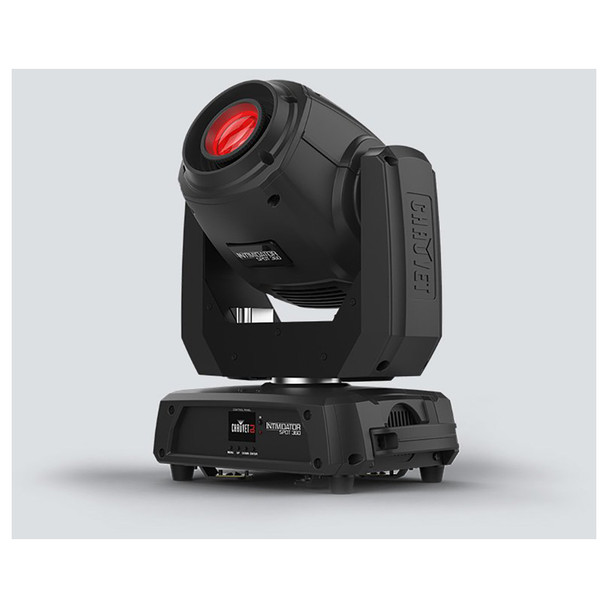 CHAUVET Intimidator Spot 360 moving head fitted with 100 W LED front/right view with red light shining upward with logo on base
