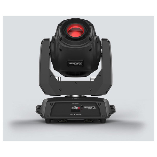 CHAUVET Intimidator Spot 360 moving head fitted with 100 W LED front view with red light shining upward with logo on base