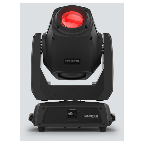 CHAUVET Intimidator Spot 475Z 250 W LED moving head spot direct front view of red light shining upwards