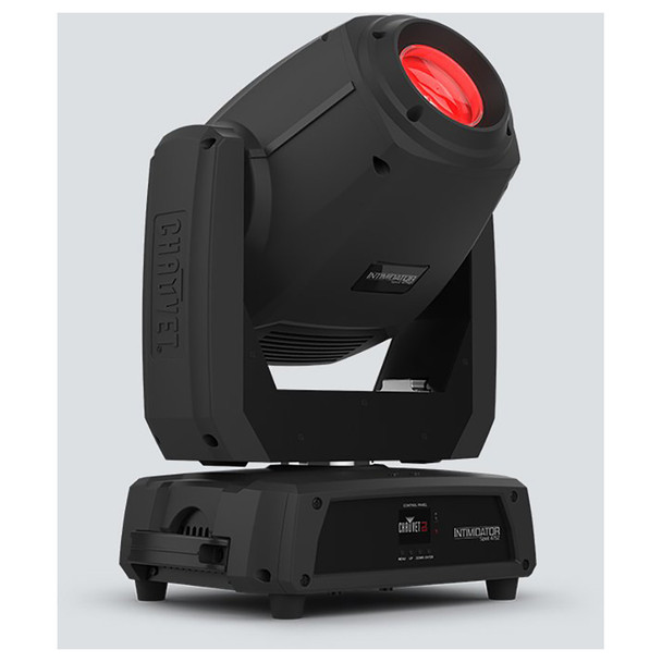 CHAUVET Intimidator Spot 475Z 250 W LED moving head spot front/left view of red light shining upwards and handle on side