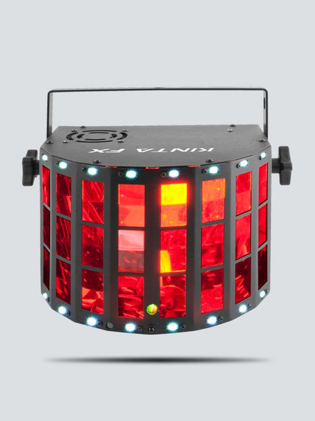 CHAUVET Kinta FX Compact multi-effect with a Kinta, Laser and SMD Strobe direct front view with red lights illuminated