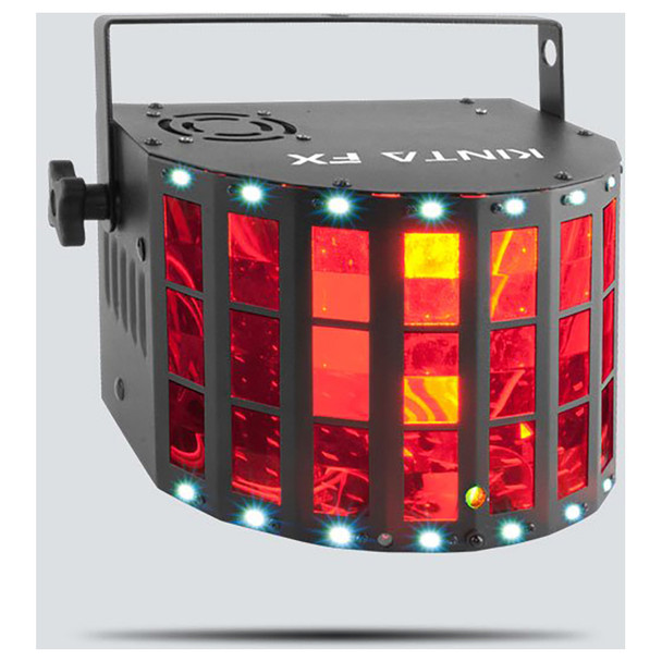 CHAUVET Kinta FX Compact multi-effect with a Kinta, Laser and SMD Strobe front/left view with red lights illuminated