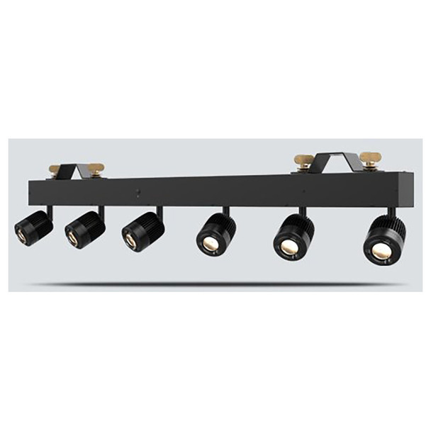 CHAUVET Pinspot Bar High-output bar with 6 independent pinspots designed to replicate traditional incandescent lamps front/right view with lights on