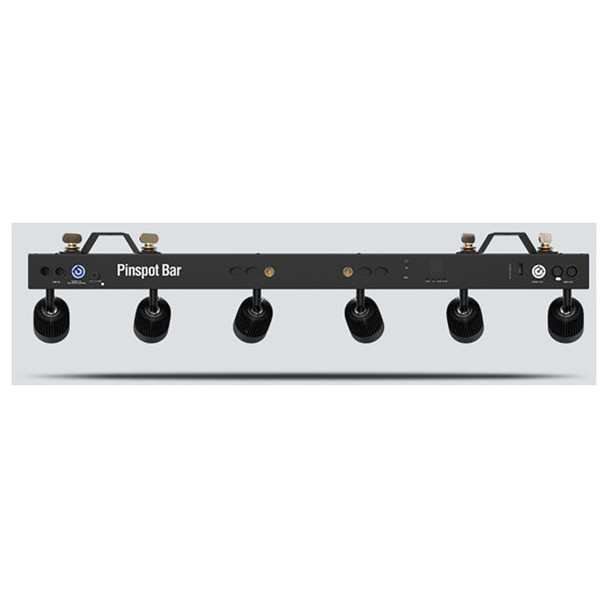 CHAUVET Pinspot Bar High-output bar with 6 independent pinspots designed to replicate traditional incandescent lamps back view of bar with lamps all facing away