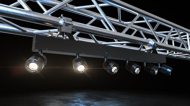 Pinspot Bar bracketed to a truss with lights shining downward