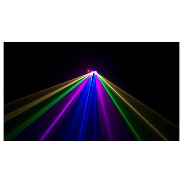 Scorpion Dual RGB shining yellow green pink blue pink green yellow lasers toward camera with black background