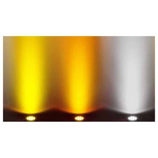 3 individual SlimPar Pro W USB lights shining upon wall in warm white, amber, and cool white