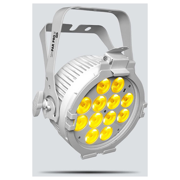 CHAUVET SlimPAR Pro W USB LED washlight featuring cool white, warm white, and amber LEDs (White Housing) front/left view of light with warm white lights