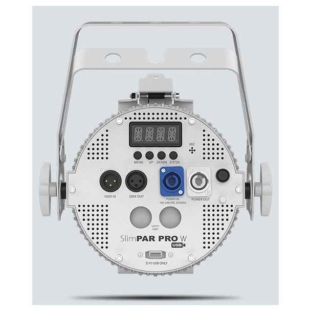 CHAUVET SlimPAR Pro W USB LED washlight featuring cool white, warm white, and amber LEDs (White Housing) direct back view showing screen, buttons, DMX IN, DMX OUT, power in, power out, and D-FI USB