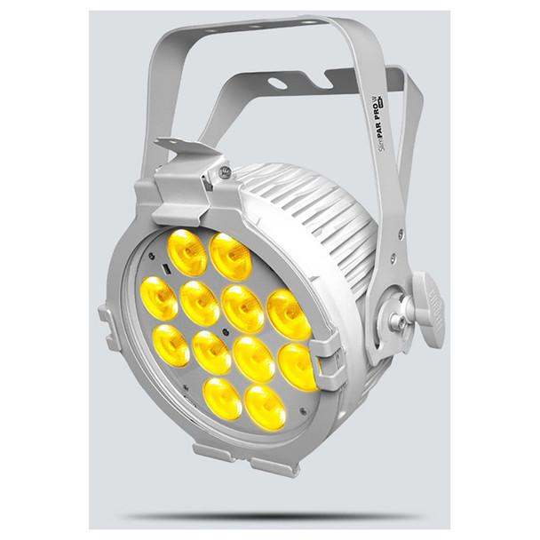 CHAUVET SlimPAR Pro W USB LED washlight featuring cool white, warm white, and amber LEDs (White Housing) front/right view with warm white lights