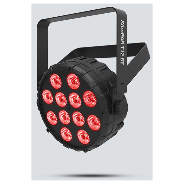 CHAUVET SlimPAR T12BT Compact wash light with built-in Bluetooth technology front/right view with red lights illuminated