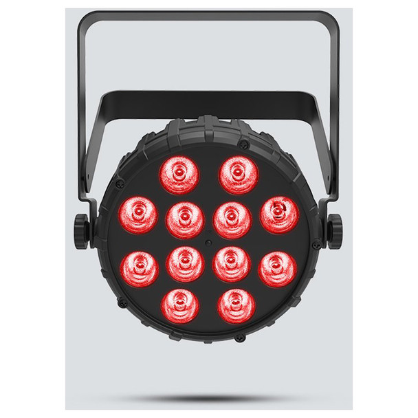 CHAUVET SlimPAR T12BT Compact wash light with built-in Bluetooth technology direct front view with red lights illuminated