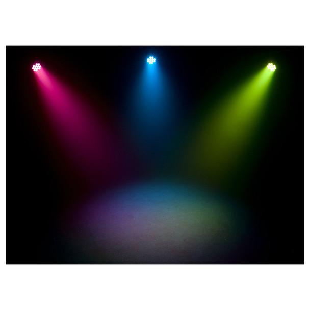 3 individual SlimPAR T12BT shining ceiling to floor in pink blue green lights