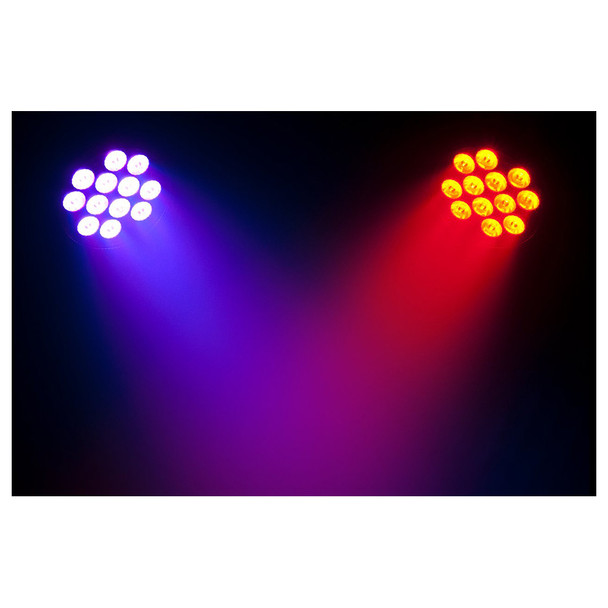 2 individual SlimPAR T12BT shining ceiling to floor in blue and orange lights