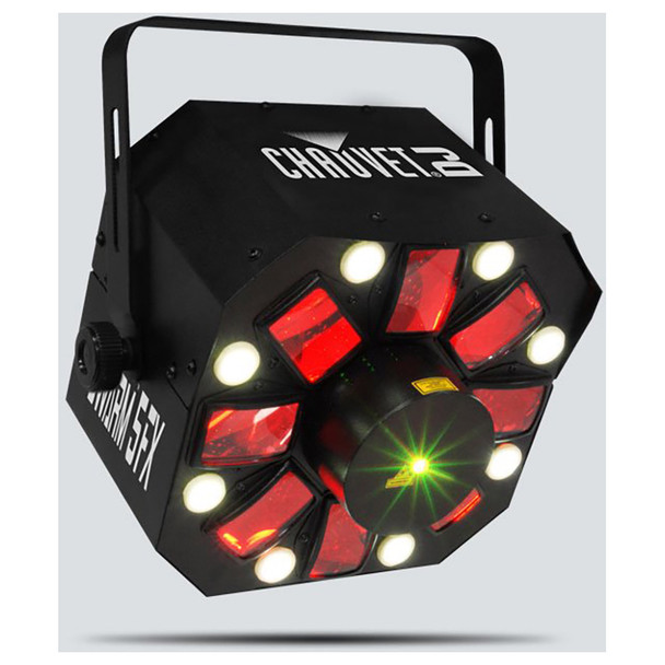 CHAUVET Swarm 5 FX 3-in-1 LED effect light with red and green lasers, white strobe effects and RGBAW rotating derby effects front/left view with all effects illuminated