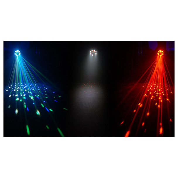 3 individual Swarm 5 FX 3-in-1 LED effect lights shining ceiling to floor with laser lighting