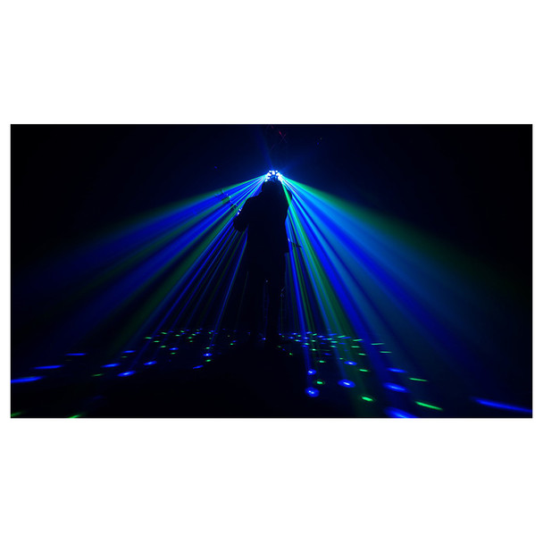 guitar player on stage with CHAUVET Swarm Wash FX shining onto him in blue and green light beams
