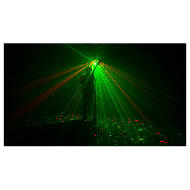 guitar player on stage with CHAUVET Swarm Wash FX shining onto him in green and red light beams