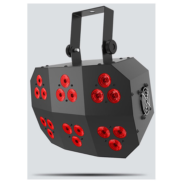 CHAUVET Wash FX 2 multi-purpose effect light with 18 Quad-color (RGB+UV) LEDs front/right view with red lights