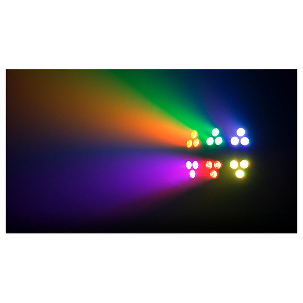 1 individual Wash FX 2 effect light with 6 different color sections orange green blue purple red yellow